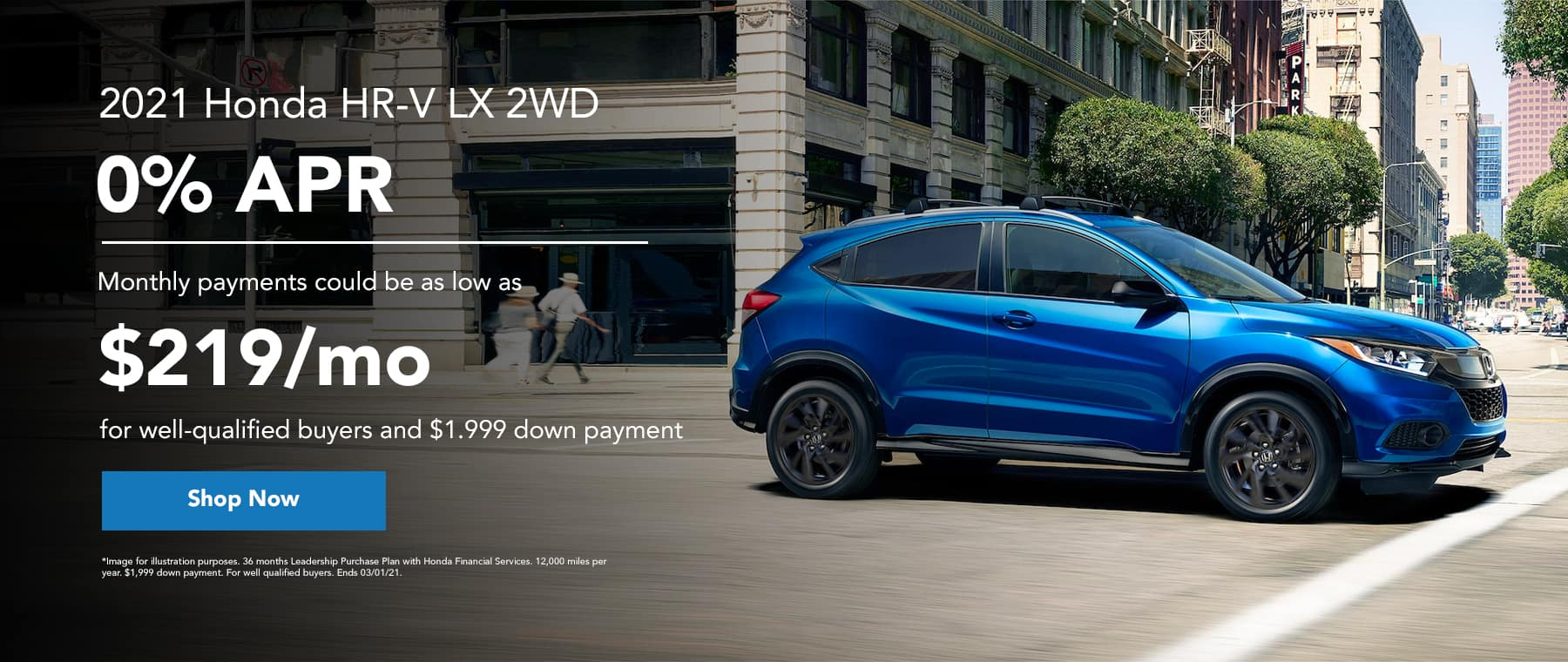 2021 Honda HR-V LX 2WD 0% APR - monthly payments could be as low as $219/mo