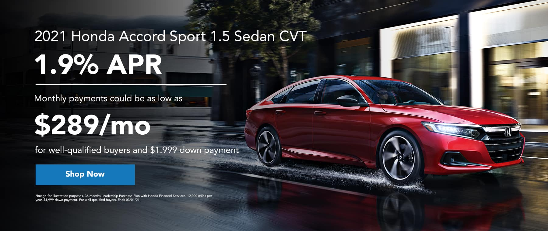 2021 Honda Accord Sport 1.5 Sedan CVT - 1.9% apr - monthly payments could be as low as $289/mo