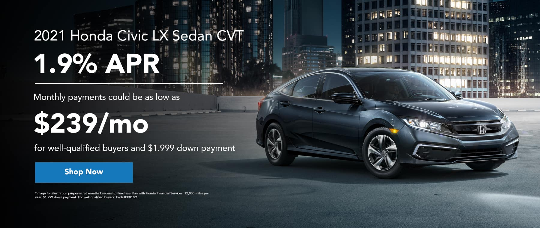 2021 Honda Civic LX Sedan CVT - 1.9% APR - monthly payments could be as low as $239/mo